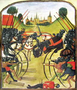 An illustration of the Battle of Tewkesbury (1471) from an old illustration