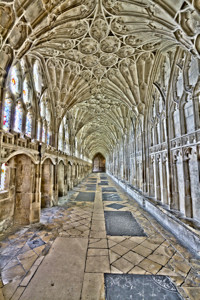 An interior of Gloucester Cathedral